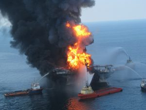 Deepwater Horizon Offshore Drilling Platform on Fire